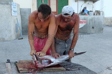 Alicudi Porto  Italien  Mann zerteilt eine Grosse Bernsteinmakrele