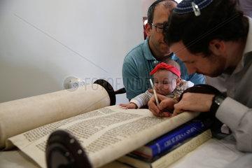 ISRAEL-MODI'IN-NEW TORAH SCROLL-INAUGURATION