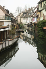 France  Colmar  Petite Venise  houses along reflective canal