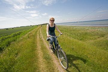 Gold  Deutschland  Fahrradfahrer auf dem Deich am Strand