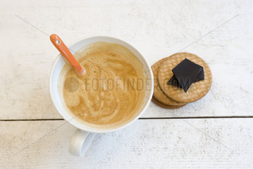 Cappuccino  wafers  and dark chocolate