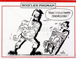 satirical cartoon in a French newspaper  depicting Saddam Hussein the Iraqi leader interrogating a captured US pilot during the Gulf War (2 August 1990 – 28 February 1991). codenamed Operation Desert Shield and Operation Desert Storm  the war waged by coalition forces from 35 nations led by the United States against Iraq in response to Iraq's invasion and annexation of Kuwait. the pictures show French filed commanders and the French War cabinet under President Mitterrand.