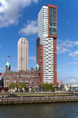 Rotterdam  Niederlande  Stadtansicht mit moderner Architektur am Kop van Zuid