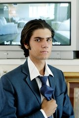 Teenager's portrait with TV