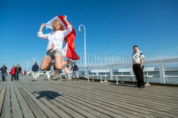 Zoppot  Polen  junge Frau bei Fotosession auf der Zoppoter Mole