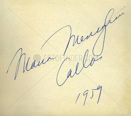 Maria Callas  Opernsaengerin  Autogramm  1959