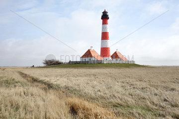 Westerhever  Deutschland  Leuchtturm Westerheversand