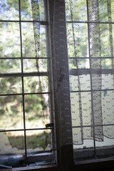 Gross Doelln  Deutschland  vergittertes Fenster mit Gardinen in einer ehemaligen Kaserne