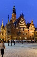 Breslau  Polen  Rathaus am Marktplatz Rynek in der Altstadt