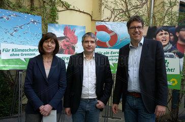 Berlin  Deutschland  Rebecca Harms  Sven Giegold und Michael Kellner  Buendnis 90/Die Gruenen