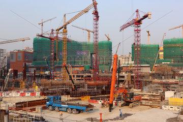 Hong Kong  China  Baustelle der Bahnhofsstation Express Rail Link West Kowloon Terminus
