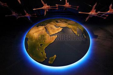 Dubai  Vereinigte Arabische Emirate  leuchtende Weltkugel