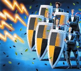 Businessmen protecting themselves with shields from Lightning