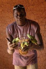 Africa  Burkina Faso  man holding parrots