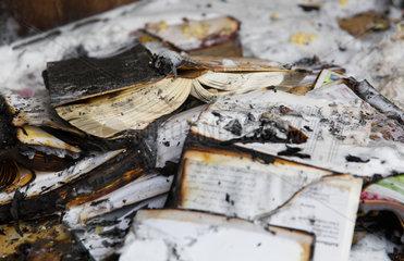 Berlin  Deutschland  ausgebranntes Interieur bei einem Wohnungsbrand