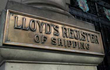London  Grossbritannien  Schild mit der Aufschrift Lloyds Register of Shipping