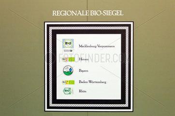Berlin  Deutschland  Tafel der regionalen Bio-Siegel auf der Gruenen Woche
