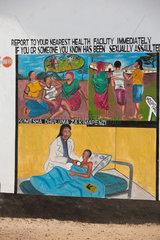 Kakuma  Kenia - Medizinische Grundversorgung und Betreuung im Fluechlingslager Kakuma. Hinweisschild.