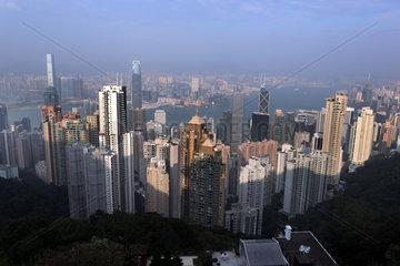 Hong Kong  China  Blick auf die Skyline vom Victoria Peak aus