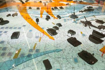 Rasdorf  Deutschland  Strategisches Modell in Barracke A auf der Gedenkstaette Point Alpha