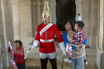 London  Grossbritannien  Wachposten des Regiments The Queens Life Guard