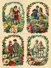 Die Vier Jahreszeiten  Seite aus altem Poesiealbum  1890