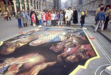 Italy  Lombardy  Milan  Duomo Square  1990's  Madonnari  Street Painting