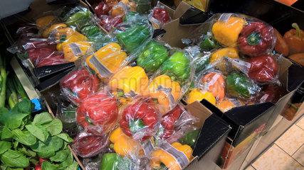 Paprika in Kunststoffverpackung
