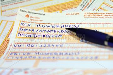Berlin  Deutschland  SEPA-Ueberweisungsscheine