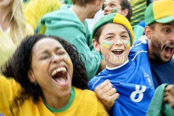 Brazilian football fans watching football match
