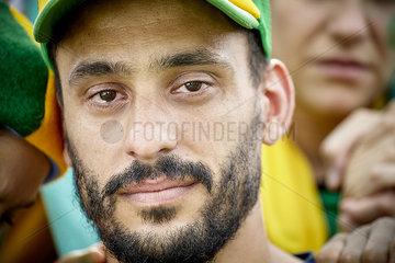 Football fan with tears in his eyes  portrait
