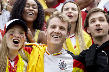 German football supporters cheering at match