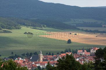 Rasdorf  Deutschland  Blick vom Beobachtungsturm auf dem Gelaende der Gedenkstaette Point Alpha