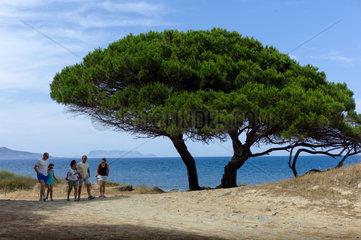 Santa Lucia  Italien  Wanderer an der Kueste von Sardinien