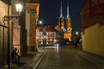 Breslau  Polen  Gitarrenspieler auf der Dominsel und der Breslauer Dom