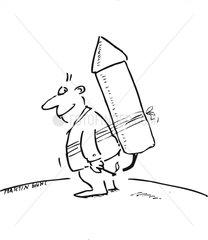 Mann mit Rakete