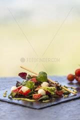 Tomatensalat vor Weinbergskulisse