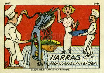 Harras Bohnenschneider  Werbemarke  1913