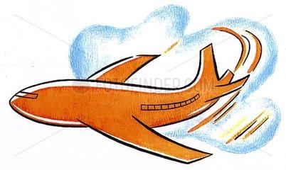 Flugzeug und Wolke