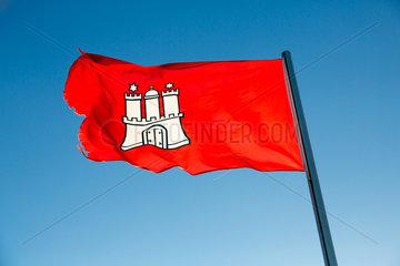 Neuwerk  Deutschland  Hamburger Landesflagge auf der Insel Neuwerk