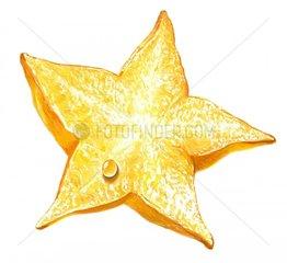 Sternfrucht mit Wassertropfen