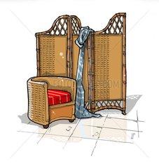 Paravent und Sessel