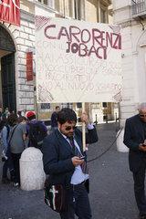 Protest gegen das zuhnehmende Prekaeriat in Rom