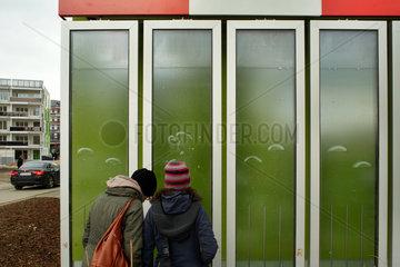 Hamburg  Deutschland  Besucher bestaunen die Fassade des BIQ auf der IBA Hamburg