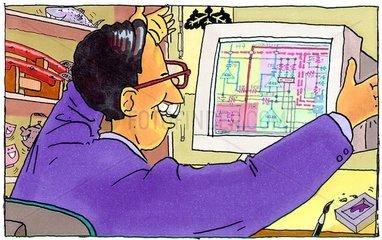 Programmierer mit Bildschirminformation