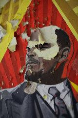 Gross Doelln  Deutschland  marodes Wandbild mit Leninportraet