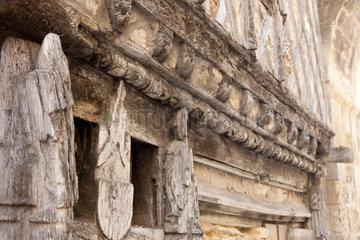 Saint-Emilion  Frankreich  Detailaufnahme eines alten Hauses