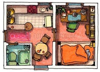 Einzimmerwohnung Grundriss