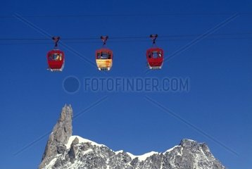 Italy  Alps  view of the Mont Blanc massif and the Giant's Tooth peak and cablecar
