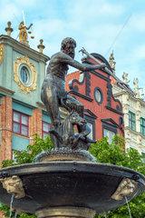 Danzig  Polen  der Neptunbrunnen am Langen Markt